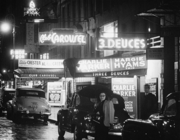 A nighttime look at 52nd Street, former hotbed of jazz, circa 1948. (Photo by William P. Gottlieb)