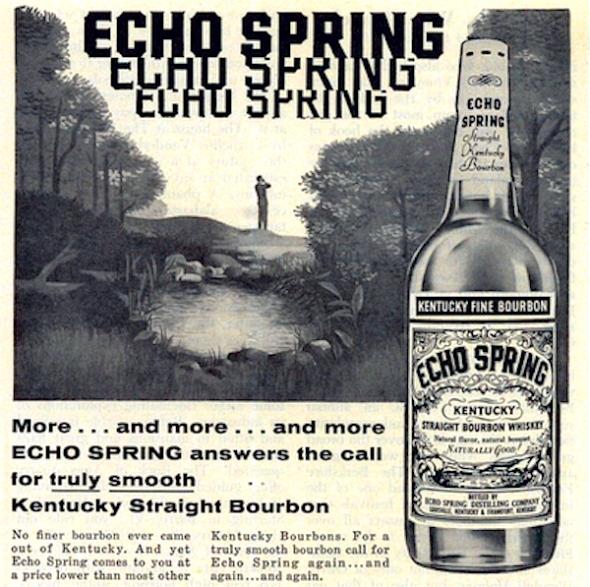 An advertisement for Echo Spring bourbon, 1957.