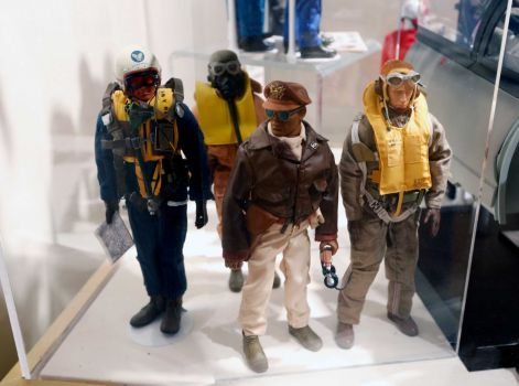 This Jan. 31, 2014 photo shows Tuskegee Airmen G.I. Joe action figures in a display at the New York State Military Museum in Saratoga Springs, N.Y. A half-century after the 12-inch doll was introduced at a New York City toy fair, the iconic action figure is being celebrated by collectors with a display at the military museum, while the toy's maker plans other anniversary events to be announced later this month. Photo By Mike Groll/AP