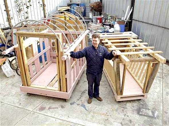 California artist Gregory Kloen, who builds small portable homes using salvaged materials, says an inexpensive structure is a way to keep someone safe and out of jail.  Brian J Reynolds
