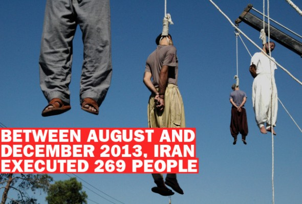 Four Iranian criminals are hanged in public in the southern city of Shiraz, 05 September 2007, a day on which 21 people were executed. (AFP/Getty Images)