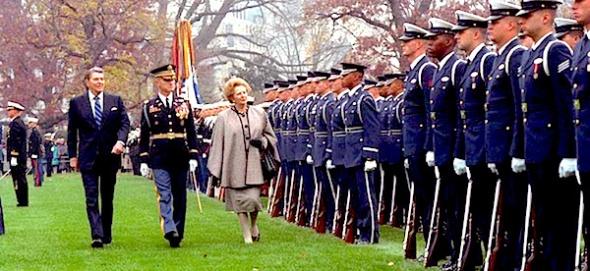 Margaret Thatcher arrives in Washington, November 1988 (courtesy Ronald Reagan Library)