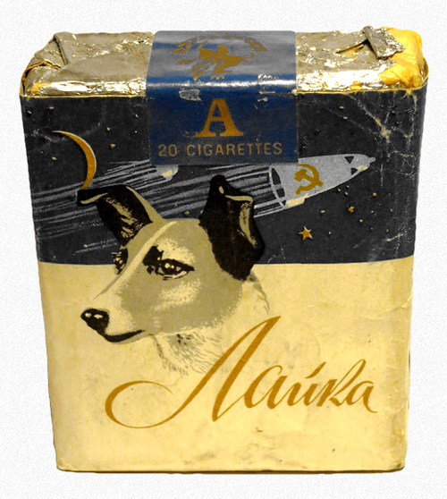 Soviet Space Dog Laika Cigarette Pack Russia 1950s