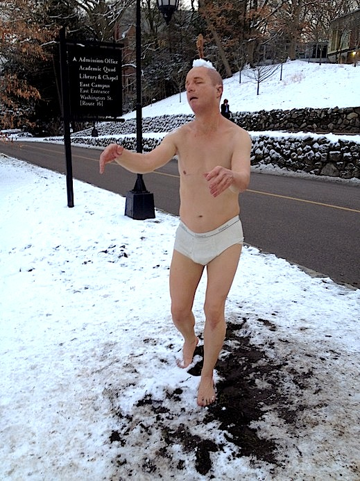 Tony Matelli's Sleepwalker, is part of an art exhibit at Wellesley College's Davis Museum.