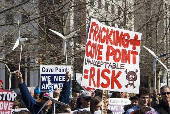 A February protest against a liquified natural gas export facility in Maryland. Susan Yin/Chesapeake Climate Action Network