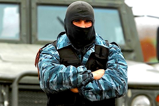 A Russian-style international observer at a Ukrainian air base in Crimea. Getty Images