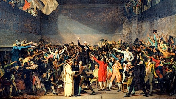 'The Tennis Court Oath, 20th June 1789', by Jacques Louis David (1791) ©Bridgeman Art Library