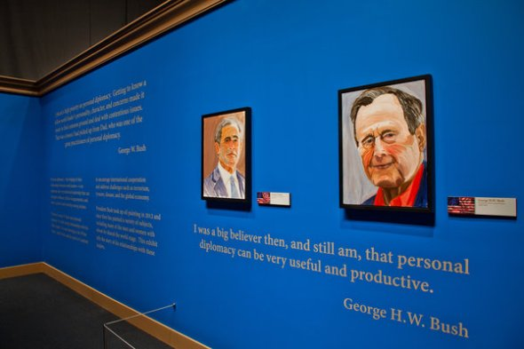 A self-portrait by Mr. Bush, left, and a portrait of his father, the former President George Bush. Credit Kim Leeson for the George W. Bush Presidential Center..