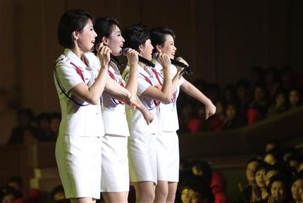Pyongyang, North Korea. Step aside, Sea of Blood Opera. North Korean leader Kim Jong Un's favorite guitar-slinging, miniskirt-sporting girl group, the Moranbong Band, is back. And these ladies know how to shimmy. (AP Photo/Jon Chol Jin)