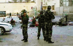 Armed police at the scene of the explosion in Urumqi. Photo: SCMP