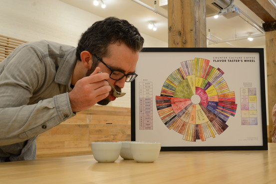 Ryan Ludwig, of Counter Culture Coffee, prepares a coffee cupping, or tasting, at the company's training center in lower Manhattan. Leslie Josephs/The Wall Street Journal
