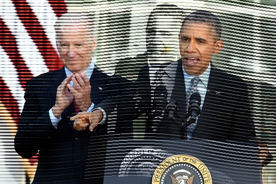 U.S. President Barack Obama is accompanied by Vice President Joe Biden as he speaks on the Affordable Care Act. Agence France-Presse/Getty Images