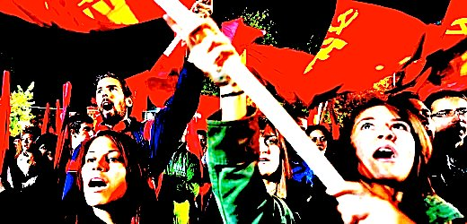 Greek communists shout slogans in front