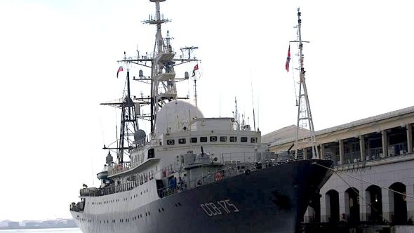 Feb. 27, 2014: A Russian spy ship Viktor Leonov SSV-175, is seen docked at a Havana port. REUTERS