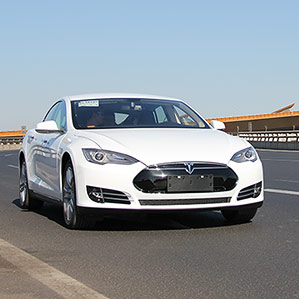 China-bound: A Tesla Model S sedan.