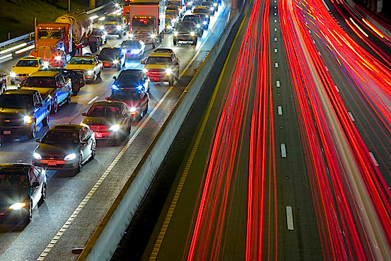 Austin has the fourth-worst vehicle congestion in North America, according to Inrix Inc., a firm that collects and ranks data on automobile traffic. Above, heavy traffic on Interstate 35 in the state capital.Jon Hicks/Corbis