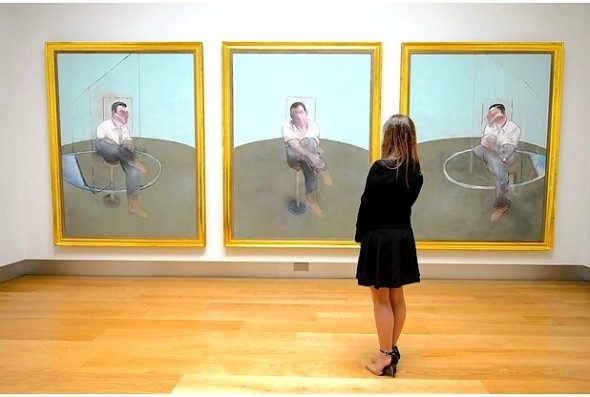 Three Studies For A Portrait Of John Edwards by Francis Bacon, which is expected to fetch around 80 million US dollars. Photo: Dominic Lipinski/PA