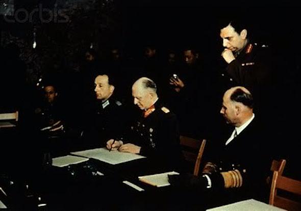 GermancapitulationsignedbyAlfredJodlHans-GeorgvonFriedeburg