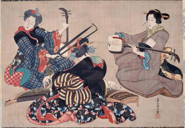 When gagaku was first introduced in Japan, it was music of the imperial court during the Nara (645-710) and Heian (794-1185) periods that was performed by musicians who belonged to hereditary guilds.  Later, it became music of the aristocracy, and today it is still performed; modern composers even continue to write for gagaku ensembles.