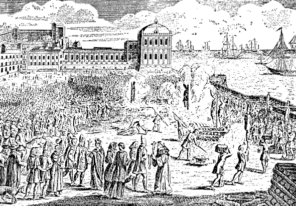 A public burning of heretics sentenced by the Inquisition is portrayed in this 18th-century print.