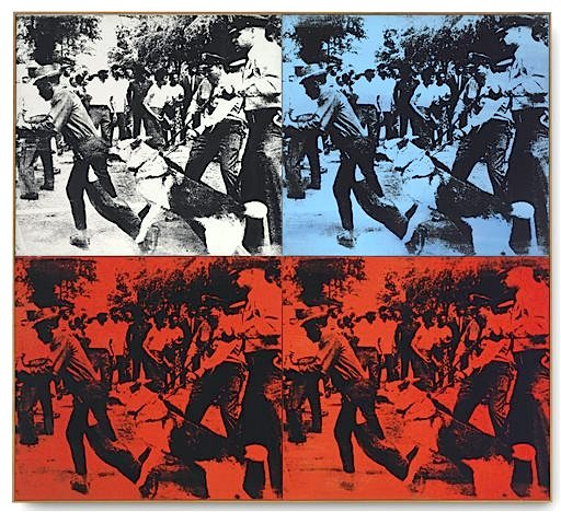 "Andy Warhol's 1964 ""Race Riot,"" in four parts painted with acrylic and silkscreen ink on linen. (AP Photo/Christie's)"