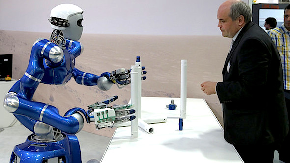 Agility: rapid advances in technology, including machine vision, tactile sensors and autonomous navigation, make today's robots, such as this model from DLR, increasingly useful