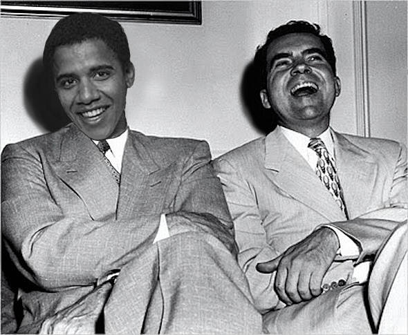 Early photo of Barack Obama and Richard Nixon