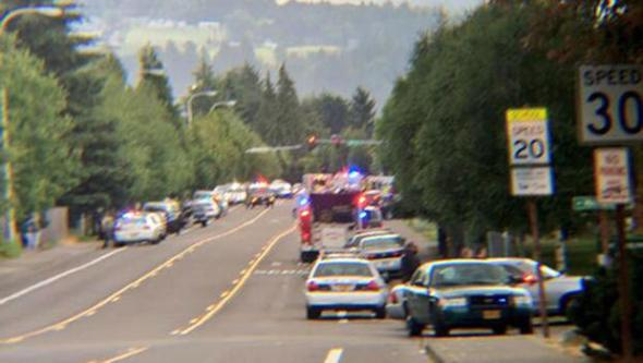 Multiple law enforcement agencies responding to a reported shooting at Reynolds High School in Troutdale, Ore., on Tuesday.  CBS AFFILIATE KOIN