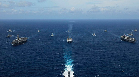 Two Japanese Naval warships took part in Malabar 2007 off India's western coast, one of the few such multilateral exercises Japan has ever taken part in symbolising close military cooperation between India and Japan
