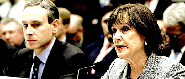 Shulman looks on as Lerner delivers an opening statement to a House Oversight and Government Reform Committee hearing in Washington