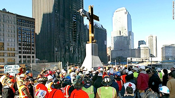 "The makeshift steel cross at ""Ground Zero"" was the subject of a lawsuit.TIMOTHY A. CLARY/AFP/Getty Images)"