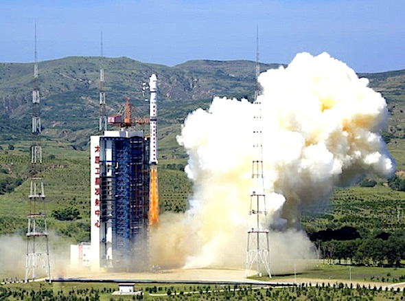 A Chinese Long March 4-B rocket lifted off on Tuesday, August 19 with the Gaofen-2 satellite and a Polish BRITE satellite. (Credit: China Great Wall Industry Corporation)