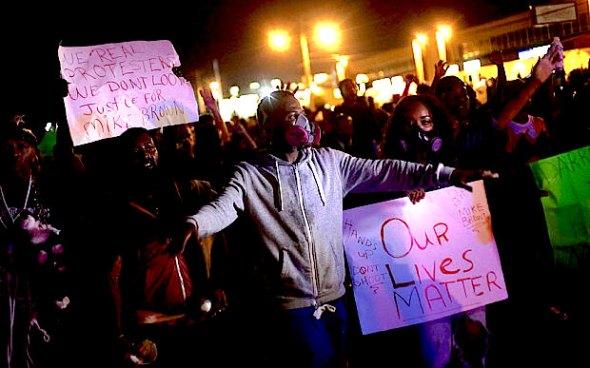 Ferguson protest at night