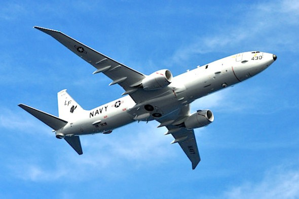 A P-8A Poseidon assigned to Patrol Squadron (VP) 16 is seen in flight over Jacksonville, Fla. (U.S Navy photo by Personnel Specialist 1st Class Anthony Petry