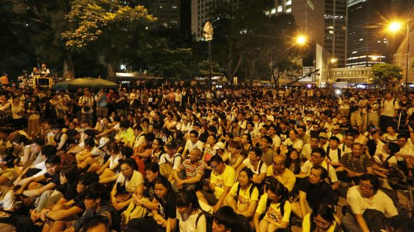 Activists say a student sit-in on July 1st in Hong Kong's financial district is a test run for a larger demonstration that will shut down all of Hong Kong's financial district.