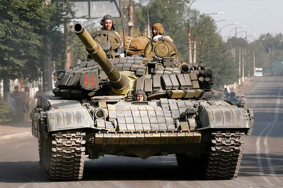 Pro-Russia rebels in Krasnodon in eastern Ukraine, Aug. 17. Associated Press