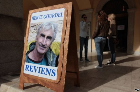 Posters in support of Herve Gourdel were put up in the village of Saint-Martin-Vesubie, south-eastern France, on Tuesday