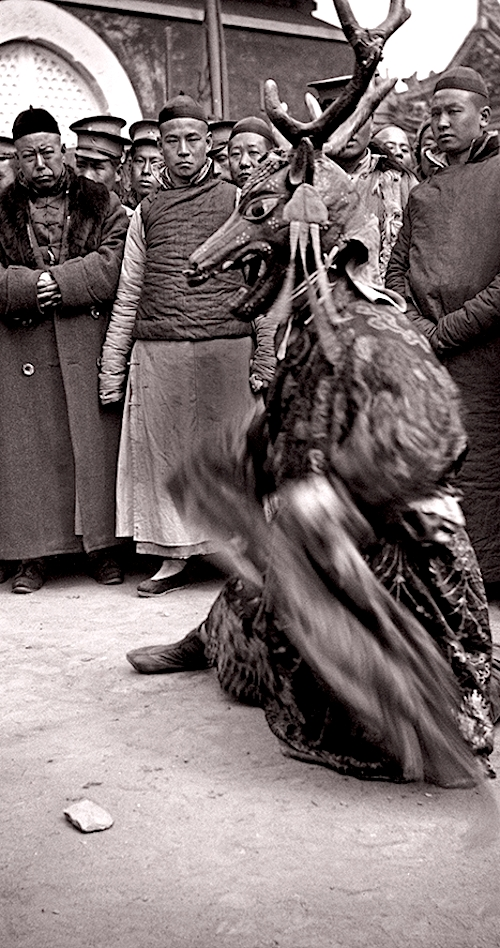 A Tibetan Buddhist ritual dance, likely photographed at the Yellow Temple near the since demolished Anding Gate in northern Beijing, photographed by Von Perckhammer