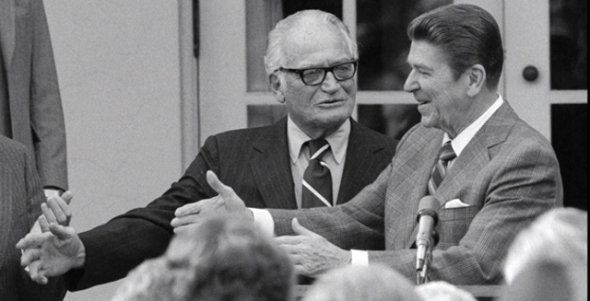 Barry Goldwater's conservatism was doomed in 1964, but it may have planted seeds for the future election of Ronald Reagan. They are seen together in 1981.