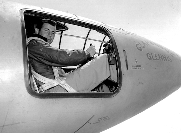 Capt. Charles E. Yeager is in the cockpit of the Bell X-1 supersonic research aircraft. He became the first man to fly faster than the speed of sound in level flight on October 14, 1947.