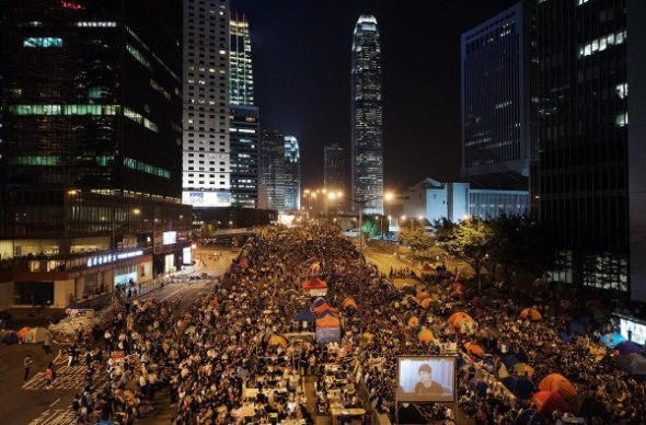 One of the main protest zones in Hong Kong (Admiralty) - during the highly publicized October 21 talks between student protest leaders and government officials