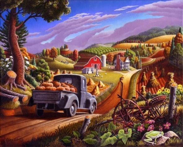 oil-painting-farm-folk-art-thanksgiving-pumpkins-rural-country-autumn-