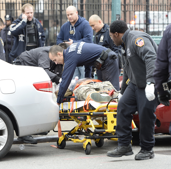 Brooklyn cops shot. Two police officers are believed to be shot at 3PM on Myrtle avenue and Tompkins avenue in Bed Stuy Brooklyn. Both officers were rushed to nearby Woodhull Hospital, a perp was found inside the Myrtle avenue train station with self-inflicted gunshot wound to his head. He was rushed by medics in likely condition. Ongoing investigation.