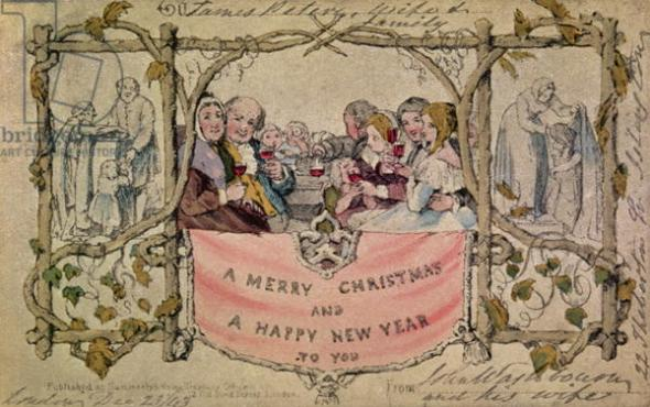 Christmas Card, example of the first known Christmas card being used, 1843 (hand-coloured watercolour on print) (for original design see 14897)