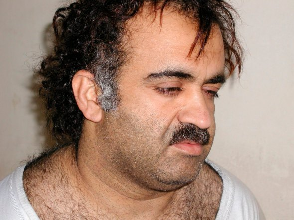 Khalid Sheikh Mohammed is shown in this file photograph during his arrest on March 1, 2003. Accused Sept. 11 mastermind Mohammed and four suspected co-conspirators were referred to trial before a Guantanamo war crimes tribunal on charges that could carry the death penalty, the Pentagon said, April 4, 2012.  REUTERS/Courtesy U.S. News & World Report
