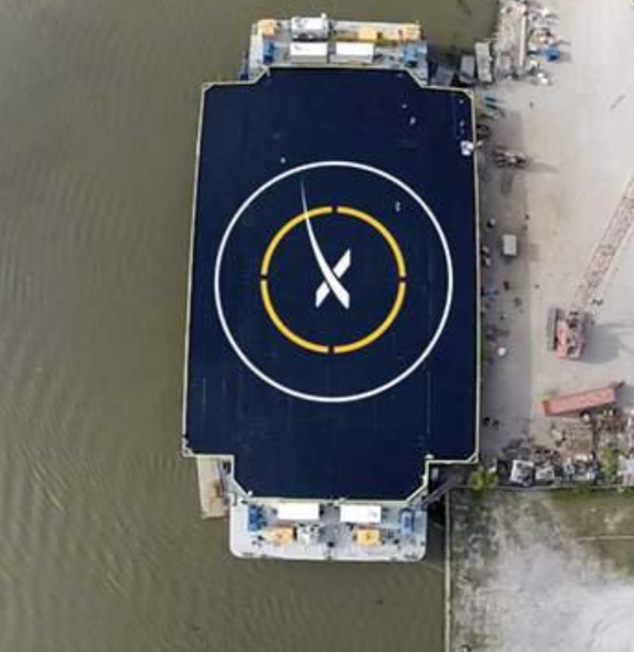 "A photo of the ""autonomous spaceport drone ship"" on which SpaceX will attempt  Credit: Elon Musk/SpaceX"