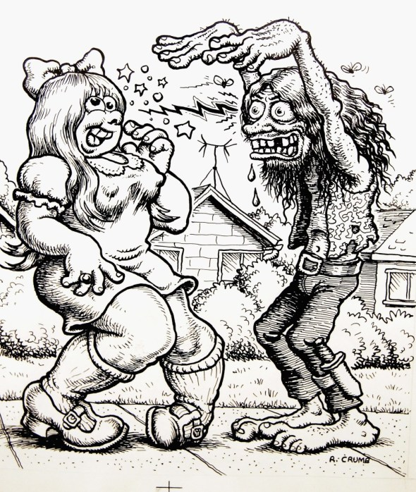 "A cartoon drawn by Robert Crumb is seen at the private view for ""Robert Crumb: A Chronicle Of Modern Times"" at the Whitechapel Art Gallery on March 30, 2005 in London. The first major UK retrospective of the US cult-cartoonist – who is renowned for producing controversial and politically incorrect work – surveys his career spanning 40 years. (Photo by Chris Jackson/Getty Images)  Read more at http://observer.com/2015/01/legendary-cartoonist-robert-crumb-on-the-massacre-in-paris/#ixzz3OfifQimr  Follow us: @newyorkobserver on Twitter 
