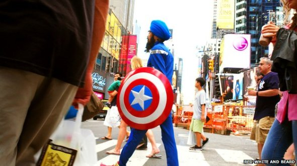 Singh travelled the streets of New York dressed as Captain America
