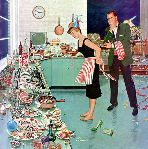 The Party's Over, detail from cover of Saturday Evening Post January 2, 1960.  Art by Ben Kimberly Prins