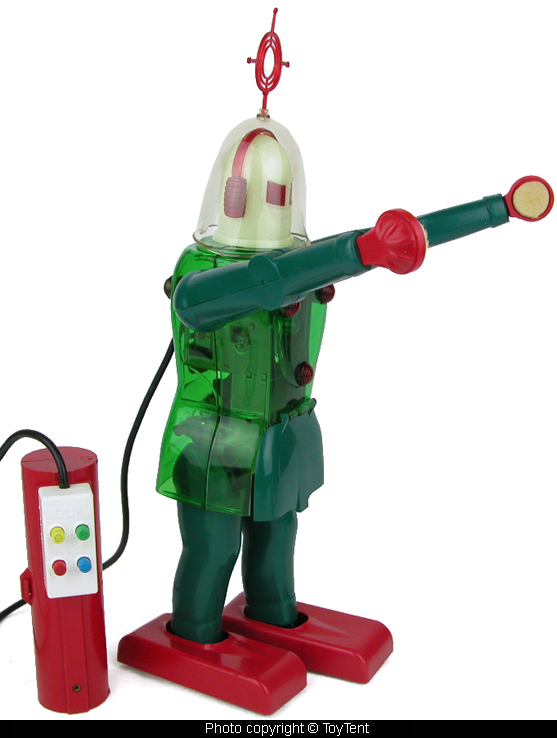 The battery operated remote controlled Astroman Robot, complete with red antenna and padded hands.
